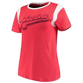 Women's Junk Food Red/White New England Patriots Retro Sport T-Shirt