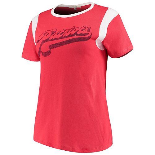 Women's Junk Food Red/White New England Patriots Retro Sport T-Shirt