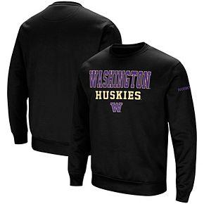 Men's Colosseum Black Washington Huskies Stacked Performance Pullover Sweatshirt