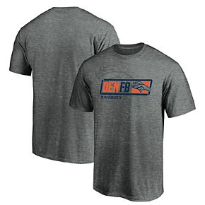 Men's Majestic Gray Denver Broncos Iconic Tricode Trainer T-Shirt