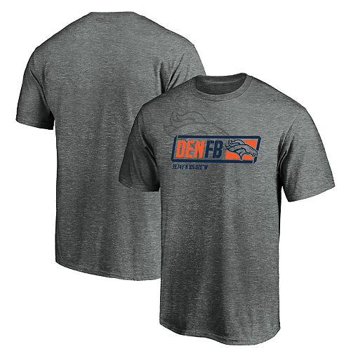 Men's Majestic Gray Denver Broncos Iconic Tricode Trainer T-Shirt