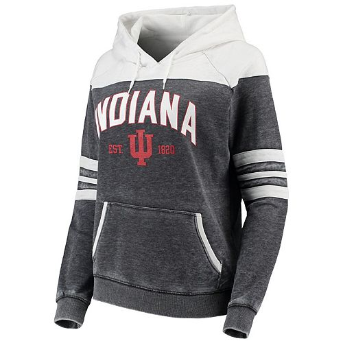 Women's Charcoal/White Indiana Hoosiers Blitz Sleeve Striped Blocked Raglan Hoodie