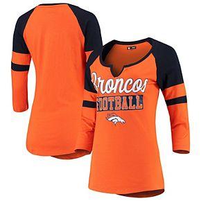 Women's New Era Orange/Navy Denver Broncos Glitter Slub 3/4-Sleeve Raglan V-Notch T-Shirt