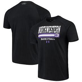 Men's Under Armour Black Northwestern Wildcats Basketball Stack Raglan Performance T-Shirt