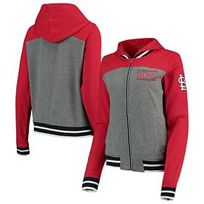 Women's New Era Gray/Red St. Louis Cardinals French Terry Full-Zip Hoodie