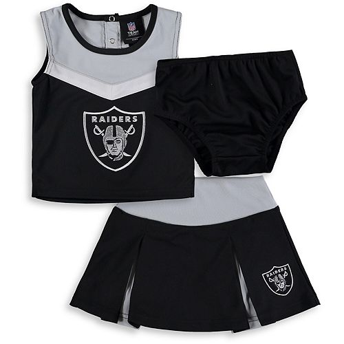Girls Toddler Black/Gray Oakland Raiders Two-Piece Spirit Cheerleader Set with Bloomers