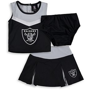 Girls Toddler Black/Gray Oakland Raiders Two-Piece Spirit Cheerleader Set with Bloomers