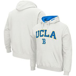 Men's Colosseum White UCLA Bruins Arch & Logo Tackle Twill Pullover Hoodie