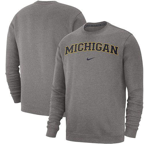 Men's Nike Heathered Gray Michigan Wolverines Club Fleece Sweatshirt