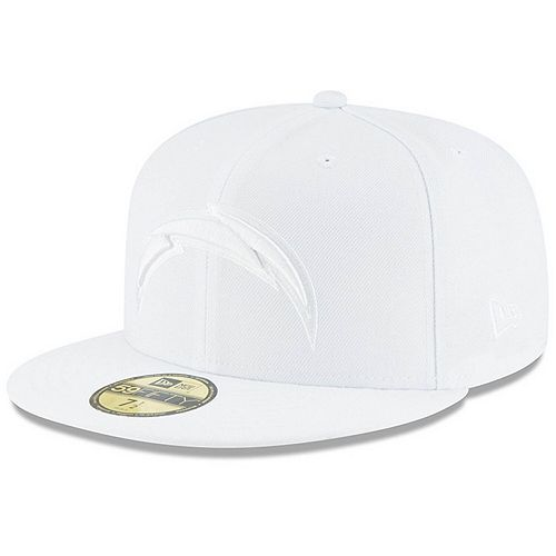 Men's New Era Los Angeles Chargers White on White 59FIFTY Fitted Hat
