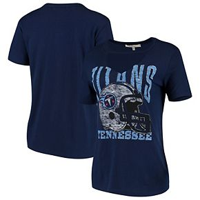 Women's Junk Food Navy Tennessee Titans Fashion Cut Out V-Neck T-Shirt
