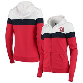 Women's New Era Red/White St. Louis Cardinals Colorblock French Terry Full-Zip Hoodie