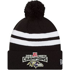 Men's New Era Black Baltimore Ravens 2018 AFC North Division Champions Cuffed Pom Knit Hat