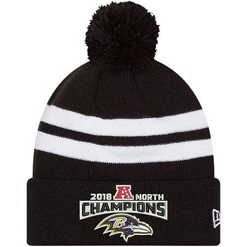 Men's New Era Black Baltimore Ravens 2018 AFC North Division Champions Cuffed Pom Knit Hat