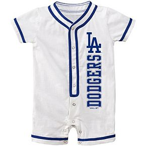 Newborn White Los Angeles Dodgers Game Ready Coverall Romper