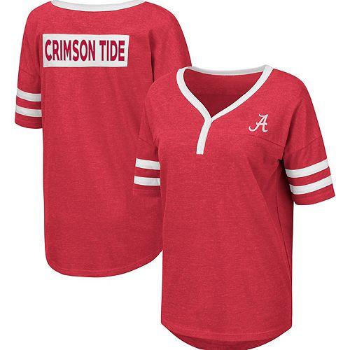 Women's Colosseum Heathered Crimson Alabama Crimson Tide Florence 2-Hit Henley T-Shirt