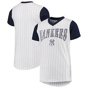 Youth White/Navy New York Yankees Heavy Hitter V-Neck T-Shirt