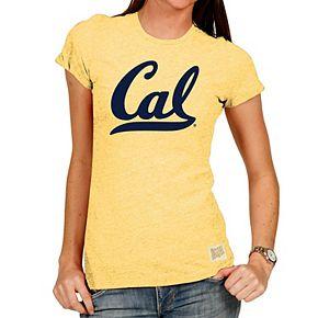 Women's Original Retro Brand Yellow Cal Bears Tri-Blend Crew Neck T-Shirt