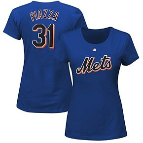 Women's Majestic Mike Piazza Royal Blue New York Mets Cooperstown Name & Number T-Shirt
