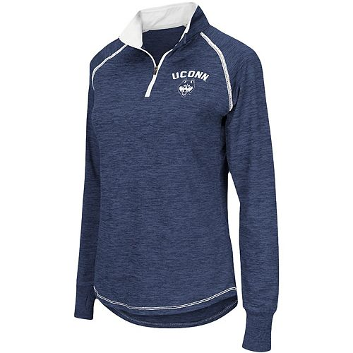 Women's Colosseum Navy UConn Huskies Bikram 1/4 Zip Long Sleeve Jacket