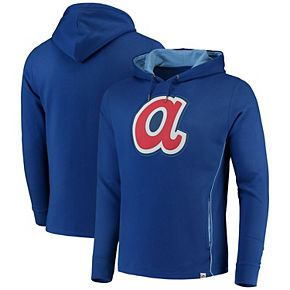 Men's Majestic Royal/Light Blue Atlanta Braves Cooperstown Left/Righty Pullover Hoodie