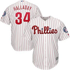 Men's Majestic Roy Halladay White/Red Philadelphia Phillies 2019 Hall of Fame Official Cool Base Player Jersey