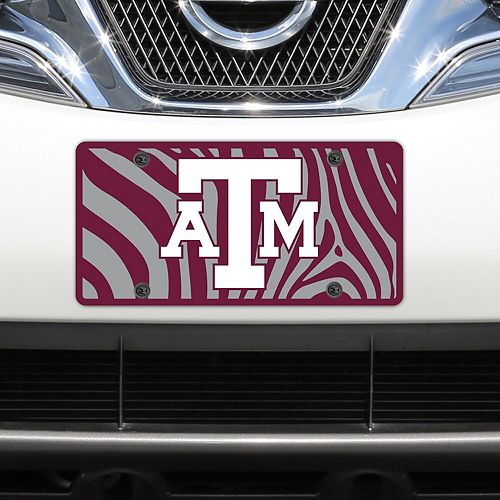 Texas A&M Aggies Zebra Acrylic Laser-Cut License Plate