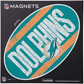 """Miami Dolphins Vintage 12"""" x 12"""" Oval Full Color Magnet"""
