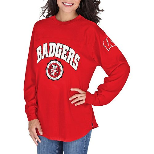 Women's Pressbox Red Wisconsin Badgers Edith Long Sleeve Oversized Top