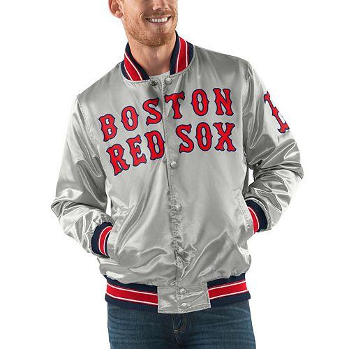 Men's Starter Gray Boston Red Sox Start the Closer Full Snap Jacket