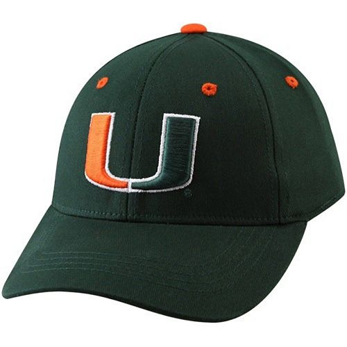 Top of the World Miami Hurricanes Youth Green Basic Logo 1-Fit Hat