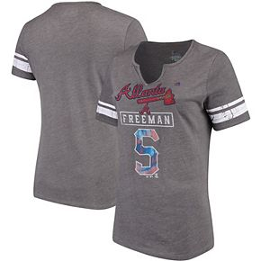 Women's Majestic Freddie Freeman Gray Atlanta Braves Knucklecurve V-Notch Tri-Blend T-Shirt