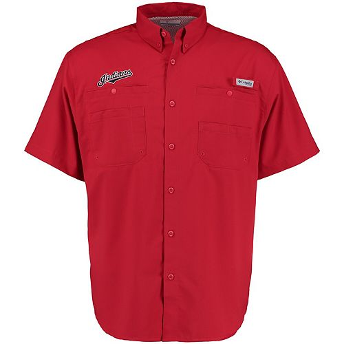 Men's Columbia Red Cleveland Indians Tamiami Button-Down Shirt