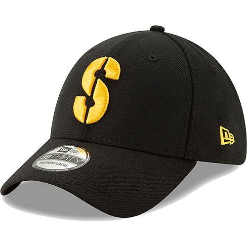 Men's New Era Black Pittsburgh Steelers Team Classic Throwback 39THIRTY Flex Hat