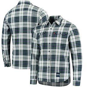 Men's Levi's College Navy/Neon Green Seattle Seahawks Gridiron Plaid Button-Up Long Sleeve Shirt