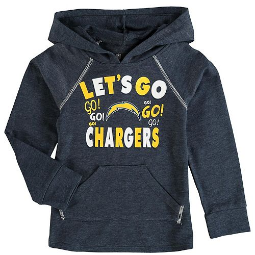 Girl's Youth 5th & Ocean by New Era Navy Los Angeles Chargers Let's Go Pullover Hoodie