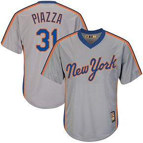 Men's Majestic Mike Piazza Gray New York Mets Big & Tall Cooperstown Collection Cool Base Replica Player Jersey