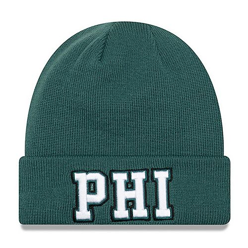 Men's New Era Midnight Green Philadelphia Eagles Barstool Beanie Cuffed Knit Hat