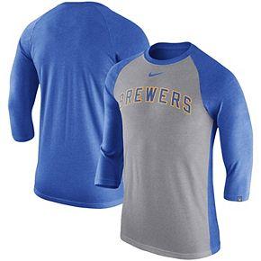 Men's Nike Gray Milwaukee Brewers 3/4-Sleeve Raglan T-Shirt