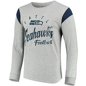Men's Hands High Gray/Navy Seattle Seahawks Receiver Long Sleeve T-Shirt