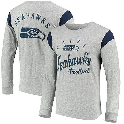 Men's Hands High Gray/Navy Seattle Seahawks Receiver Long Sleeve T-Shirt