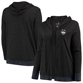 Women's Colosseum Charcoal UConn Huskies Plus Size Steeplechase Open Hooded Tri-Blend Cardigan