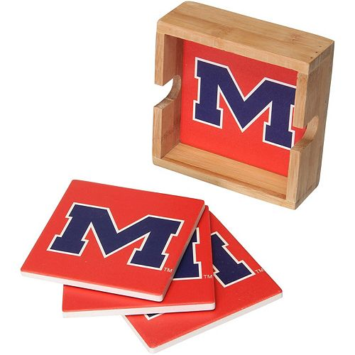 Ole Miss Rebels 4-Pack Square Coaster Set with Caddy