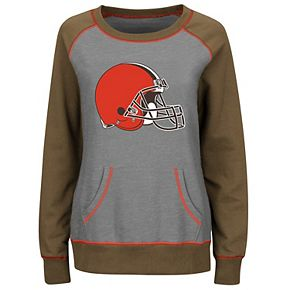 Women's Majestic Gray/Brown Cleveland Browns Overtime Queen Crew Neck Sweatshirt
