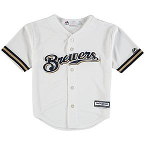 Preschool Majestic White Milwaukee Brewers Official Cool Base Team Jersey