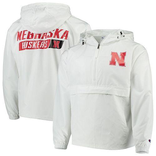 Men's Champion White Nebraska Cornhuskers Tailgate Packable Half-Zip Jacket