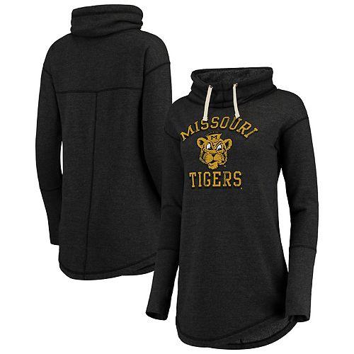 Women's Original Retro Brand Black Missouri Tigers Funnel Neck Fleece Pullover Sweatshirt