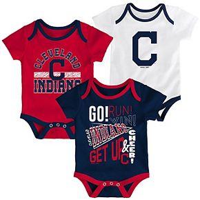 Newborn Navy/Red/White Cleveland Indians 3-Pack Newest Rookie Bodysuit Set