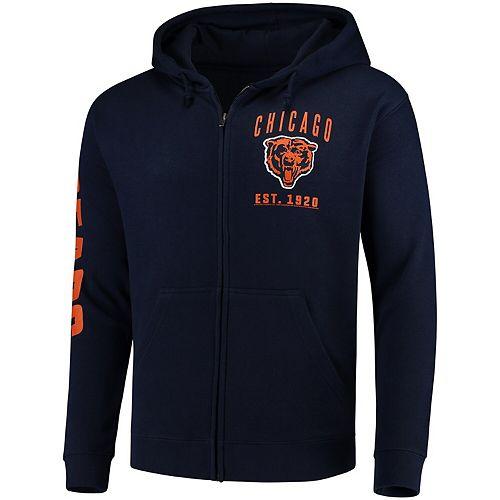 Men's Navy Chicago Bears Retro Full-Zip Hoodie