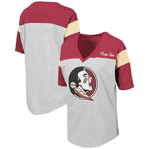 Women's Colosseum Heathered Gray Florida State Seminoles Genoa Color Blocked V-Neck T-Shirt